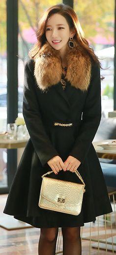 StyleOnme_Feminine Belted Flared Coat #black #flared #feminine #girlish #coat #wool #koreanfashion #seoul #kstyle #elegant