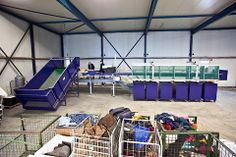 The prototype of the textile sorter, in a warehouse north of Amsterdam.  read about this grand project herehttp://rendezvous.blogs.nytimes.com/2012/08/20/sustainable-innovation-reducing-fashions-carbon-footprint/