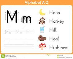 Alphabet Letters Worksheets for Kids - Preschool and Kindergarten Handwriting Practice Worksheets, Alphabet Tracing Worksheets, Printable Preschool Worksheets, Kindergarten Worksheets, Worksheets For Kids, Preschool Alphabet, Az Alphabet, Alphabet Writing Practice, Illustration