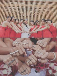Bride gave her BMs personalized double rings!