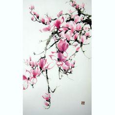 Japanese Ink Painting, Japanese art,  Sumi-e, Suibokuga, Asian art,Rice Paper painting,Large 15x28', Pink Magnolia - pinned by pin4etsy.com