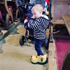JB found some nice new boots in Church this morning  #harvestfestival