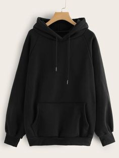 To find out about the Raglan Sleeve Kangaroo Pocket Hoodie at SHEIN, part of our latest Sweatshirts ready to shop online today! Hoodie Sweatshirts, Pullover Hoodie, Sweater Hoodie, Hoody, Plain Sweatshirts, Mode Kpop, Casual Outfits, Fashion Outfits, Shoes