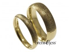 14k Yellow Gold Set of Comfort Fit Low Dome Fingerprint Wedding Bands with Exterior Tip Prints - Custom handmade fingerprint jewelry by Brent&Jess