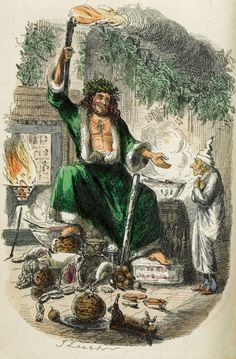 """Third Visitor handpainted engraving by John Leech, 1843, Chapman & Hall 1st edition of """"A Christmas Carol"""" by Charles Dickens"""