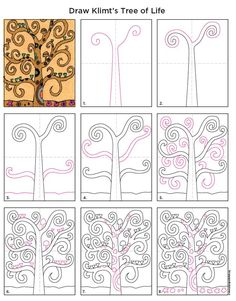 Coloriage Plus Gustav Klimt's Tree of Life painting has been an inspiration for so man works of art. The curly branches can get rather confusing to draw though, so I thought I'd … Read Tree Of Life Painting, Tree Of Life Art, Tree Art, Gustav Klimt, Projects For Kids, Art Projects, 5th Grade Art, Art Worksheets, Ecole Art