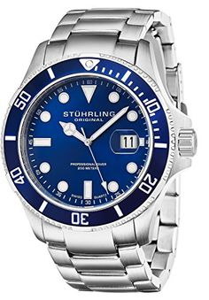 Stuhrling Original Mens 41702 Aquadiver Regatta Espora Analog Swiss Quartz Silver Stainless Steel Watch *** Be sure to check out this awesome product. (This is an affiliate link) Sport Watches, Cool Watches, Watches For Men, Wrist Watches, Stainless Steel Bracelet, Stainless Steel Case, Buy Rolex, Thing 1, Rolex Day Date