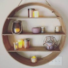 ​​Ideal for adding wall storage to the kitchen, bathroom or bedroom, our Natural Round Wood Wall Shelf features a jute rope hanger that gives it a rustic edge. Photo credit: @parv32 (link in profile to #shop) #WorldMarket #HomeDecor