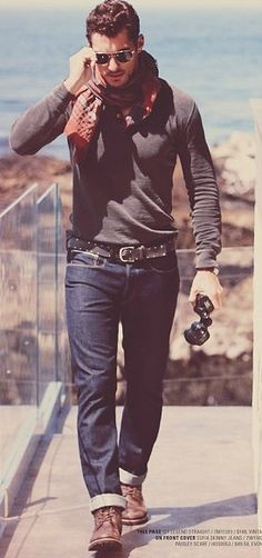 mens fashion, sexy aviator stud look, very casual but slightly dressy and smart, nice denim and belt add to the outfit