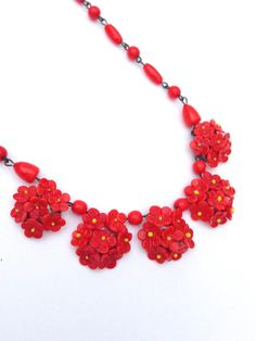 Red Floral and Beaded Glass Vintage Handmade by benjiboyvintage #vogueteam #redfloralnecklace