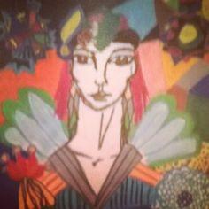 Fairy world other version... #dessin#draw#fée#ailes#fleurs#couleur#cheveuxrouges
