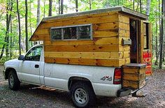 The Flying Tortoise: Simple And Delightful Tiny Homes On The Back Of Small Pick-Up Trucks. Slide In Truck Campers, Diy Camper Trailer, Build A Camper, Pickup Camper, Tiny Camper, Car Camper, Truck Bed Camping, Truck Tent, Motorhome