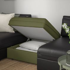 VALLENTUNA Mod sofa, 4 seat w 3 slpr sections, and storage/Murum/Orrsta black/olive-green. One sofa, lots of possibilities. In need of extra beds, smart storage or a comfy reading corner? Modular Corner Sofa, Modular Sofa, Vert Olive, Olive Green, Ikea Vallentuna, Flexible Furniture, Sofa Bed With Storage, Reading Nooks