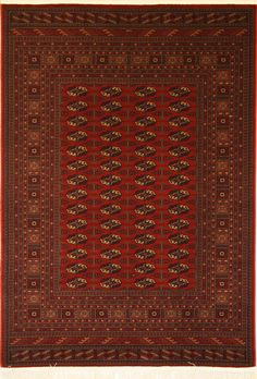 A machine-made Tekke-print rug - a classic Turkman design.