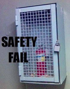 Safety fail. Fire extinguisher