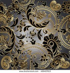 Paisleys  elegant floral vector seamless pattern background wallpaper illustration with vintage stylish beautiful modern 3d line art  gold and black paisley flowers leaves and ornaments