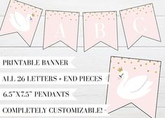 Swan Lake Birthday Party Printable Banner by Little Lemon Design Co. on Etsy! swan party, swan birthday, swan lake party, swan lake printable, swan invitation, swan party invitation, swan party invite