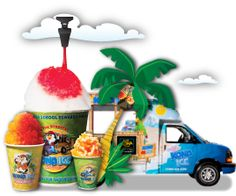 Kona Ice Truck will have party's you pay about $100 and you will get 30 regular sno cones it would be fun to have with a pool party