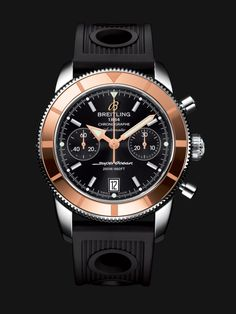 Superocean Héritage Chronographe 44 watch by Breitling - stainless steel case with rose gold bezel, black dial and black rubber strap