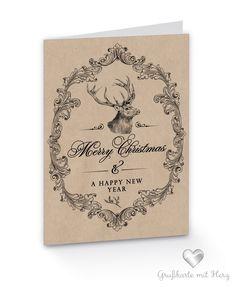 """Weihnachtskarte Weihnachtshirsch """"Merry Christmas and a happy new year"""""""