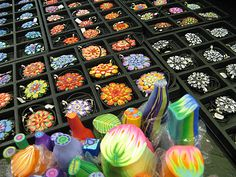 Kimberly Arden fabricates canes from polymer clay to make jewelry.