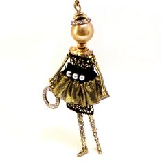 Catch-Coeur Doll Necklace in Gold and Black