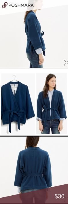 Madewell kimono heavy cotton sweatshirt. New without tags, never worn. Beautiful indigo color. Size medium. Madewell Sweaters Shrugs & Ponchos