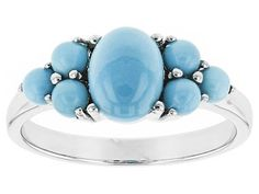 Oval And Round Blue Sleeping Beauty Turquoise Cabochon Sterling Silver Ring