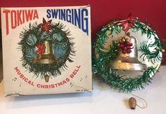 Vintage TOKIWA Japan Musical Christmas Bell Pull String Cord SILENT NIGHT