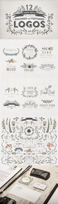 Hand Drawn Colored & Textured Logos by Make Media Co | The Comprehensive, Creative Vectors Bundle Mar 2015 from Design Cuts