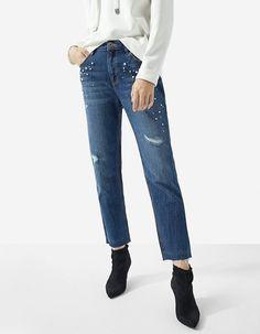 Jeans mom fit bajo jacquard