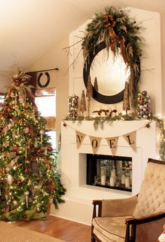 Using repetition throughout your room will bring about a cohesive feeling. (Tree, mantle, banister, swag and wreath options).