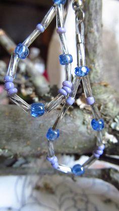 Lavendar blue silver teardrop earrings by DesignByTweet on Etsy, $6.00