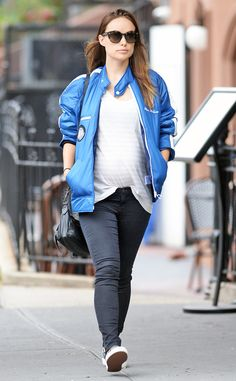 Brooklyn baby! The pregnant actress takes a stroll through the city in a bright blue jacket with Steve McQueen's name on it.