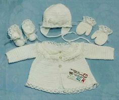 Conjunto 4 peças de croche em linha de algodão.