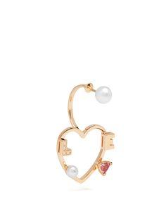 Diamond, rhodolite, pearl & pink-gold earring   Delfina Delettrez   MATCHESFASHION.COM