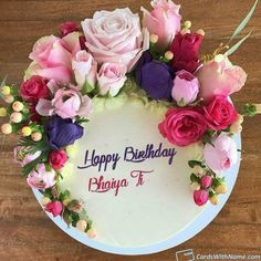 Bhaiya ji Name Cards And Wishes Happy Birthday Cakes For Women, Happy Bday Cake, Happy Birthday Cake Writing, Birthday Cake Write Name, Happy Birthday Floral, Happy Birthday Wishes Cake, Happy Birthday Cake Images, Cake Name, Cute Birthday Cakes