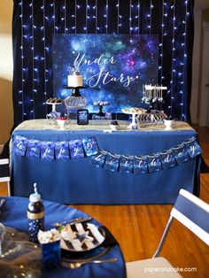 "Under the Stars ""galaxy"" printable birthday party decorations and inspiration 