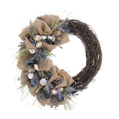 Beachy Burlap Seashell & Dried Floral Wreath is designed with a east coast feel with blue mussel shells, English lavender, scallops and beach grass. Coastal Wreath, Seashell Wreath, Seashell Crafts, Floral Wreath, Beach Wreaths, Seaside Decor, Summer Wreath, Holiday Wreaths, How To Make Wreaths