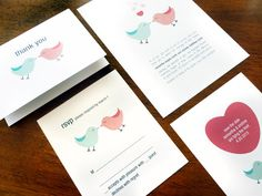 Printable Wedding Stationary Set - Lovebirds. $75.00, via Etsy.