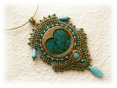 Gold and turquoise bead embroidered necklace - OOAK. $63.00, via Etsy.