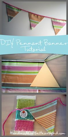 DIY Easy Sew Pennant Banner: handmadeintheheartland.com #sewing #banner