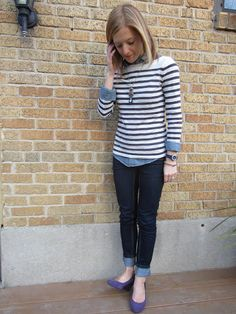 Striped black tee, Chambray shirt, Jeans - Casual Outfit