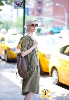 <br> Nyfw Street Style, Khaki Dress, Who What Wear, Khakis, Simple Outfits, Chic, Day Dresses, Spring Summer Fashion, Passion For Fashion