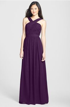 ML Monique Lhuillier Bridesmaids Crisscross Chiffon Gown (Nordstrom Exclusive) available at #Nordstrom (Plum - love this one!)
