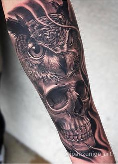 Owl and Skull Realism Tattoo Owl Skull Tattoos, Mens Owl Tattoo, Owl Tattoo Drawings, Skull Girl Tattoo, Skull Sleeve Tattoos, Animal Tattoos, Wing Tattoos, Owl Forearm Tattoo, Half Sleeve Tattoos Forearm