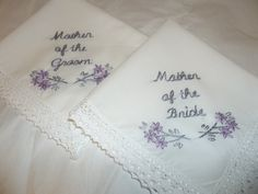Mother of bride, mother of groom wedding handkerchief, set of 2,  hand embroidered, bouquet wrap, wedding favors, hanky, hankerchief, by SheriAngellCreations on Etsy https://www.etsy.com/listing/208998885/mother-of-bride-mother-of-groom-wedding