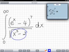 MathBrush is an iPad app that recognizes mathematical expressions as you draw them. It supports variables and functions, not just numbers, and recognizes a wide range of mathematics, including polynomials, integrals, and matrices.