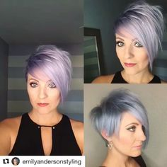 I am in love with this cut & color. #Repost @emilyandersonstyling with @repostapp ・・・ A new 360 vid of the bomb haircut @leahfittsbeautydesign did. Head to her page for the how to video and more pictures she posted. Crazy how different lighting effects my color huh. #isitblueorpurple #pixie360 #nothingbutpixies #pixiecut #leahfittsbeautydesign #undercut #behindthechair #emilyandersonstyling