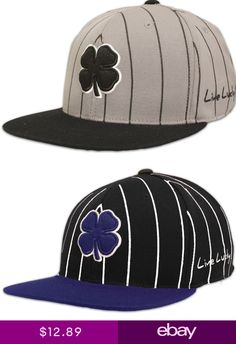 Black Clover Flat Lucky Golf Hat Fitted SM or LXL Memory Fit - YOU CHOOSE 40fa3c831846